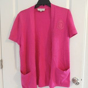 St John Marie Gray M Open Cardigan Short Sleeve